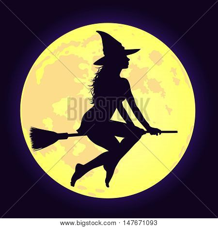 Silhouette of sexy witch with long hair flying on broomstick and yellow shining disc of moon background. Vector illustration for Halloween design.