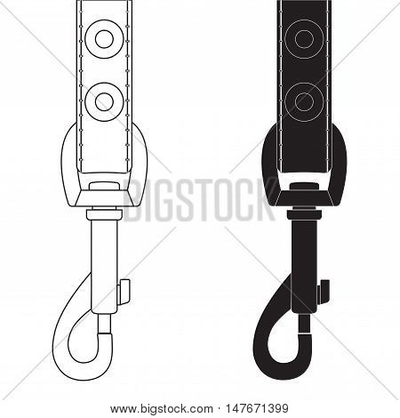 Carbine hook token with leather band. Vector illustration on white background