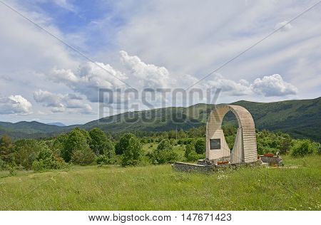A communist-era war memorial to the dead partisans of World War Two in Jelovice in northern Croatia