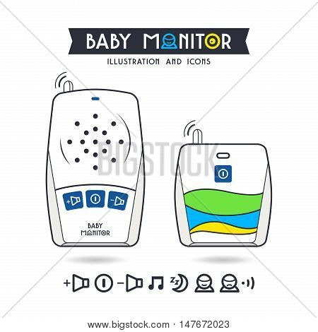 Stock Vector Illustration Of Baby Monitor And Icons