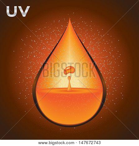 uv drop logo and icon vector , orange uv set perfume