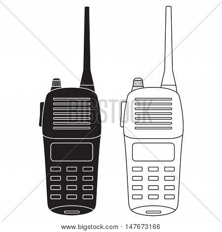 Radio transceivers. Set of talkies black and white icon. Vector illustration isolated on white background