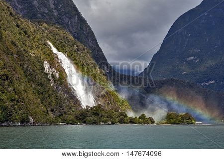 Rainbows At Lady Bowen Falls, Milford Sound, New Zealand