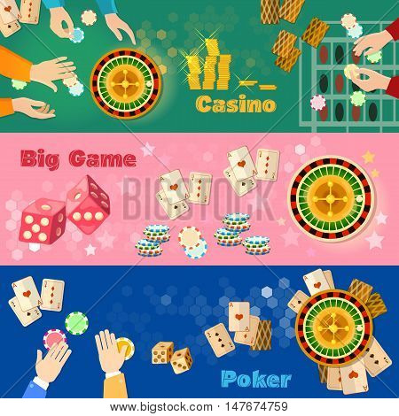 Casino banner poker game playing  roulette casino games flat vector illustration