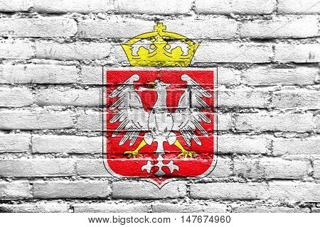 Flag Of Gniezno, Poland, Painted On Brick Wall