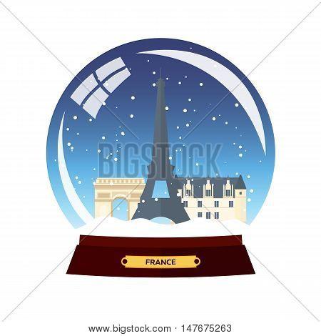 Snow globe city. Paris in Snow Globe. France. Winter travel vector illustration
