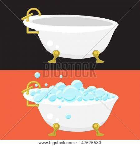 Bath tub sanitary engineering vector in flat syle. Retro bathtub with soap bubbles. Empty retro tub.
