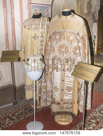 Moscow Russia -September 04 2016: Priest and deacon (Liturgical vestments) in