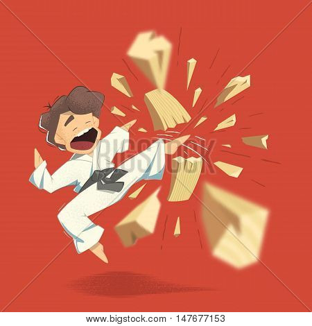 Cartoon character karate kid breaking wooden board illustration