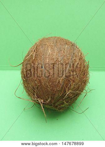 Coconut Fruit Over Light Green Background