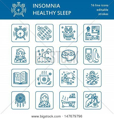 Modern vector line icon of sleepless and healthy sleep. Elements - clock pillow pills dream catcher counting sheep. Linear pictogram with editable stroke for sites brochures about insomnia