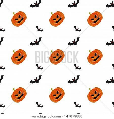 Halloween symbols pumpkin and bats seamless pattern on white background trendy flat style illustration. Cute fun evil smiling october pumpkins jack-o'-lantern sign