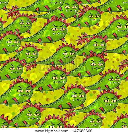 Seamless Background for Your Design with Cartoon Monsters Amphibians, Swimming Among the Bubbles and Confetti, Colorful Tile Pattern with Cute Funny Characters. Eps10, Contains Transparencies. Vector