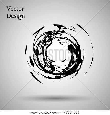 Hand drawn circle shape. label, logo design element. Brush abstract wave. Black enso zen symbol. Vector illustration. Object