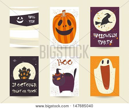 Cute hand drawn doodle halloween objects collection including pumpkin black cat witch broom stick castle moon ghost net. Halloween postcards covers tags icons set decorative elements