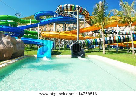 Water park in tropical resort