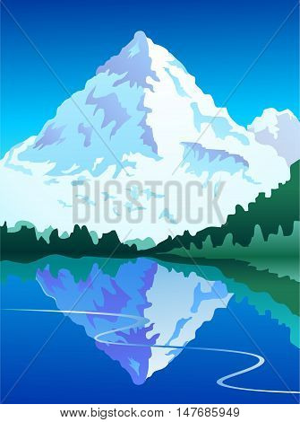 Stylized mountain scene with still lake in blues