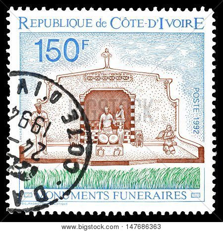 IVORY COAST - CIRCA 1992 : Cancelled postage stamp printed by Ivory Coast, that shows Funeral monument.