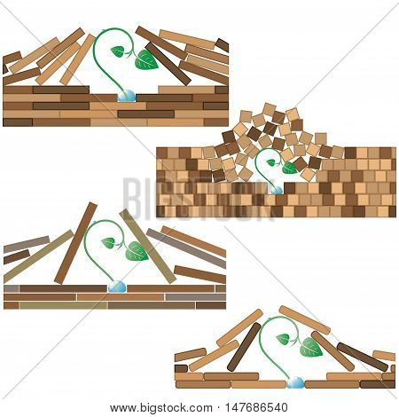 4 various vector illustration showing a desire for life.Little and fragile sprout breaks pavement.
