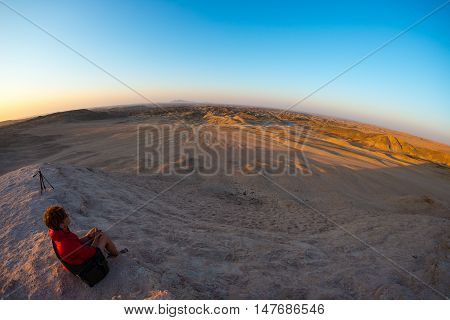 Tourist Watching The Stunning View Of Barren Valley, Known As