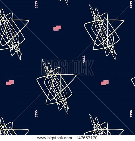 Hand drawn geometric hipster stylish pattern. Vector art. Pastel colored modern grange chaos shapes wallpaper . Trendy freehand composition . Speed style natural painting