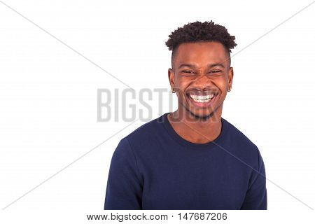Happy Young African American Man Isolated On White Background - Black People