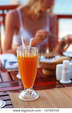Girl in the café resort
