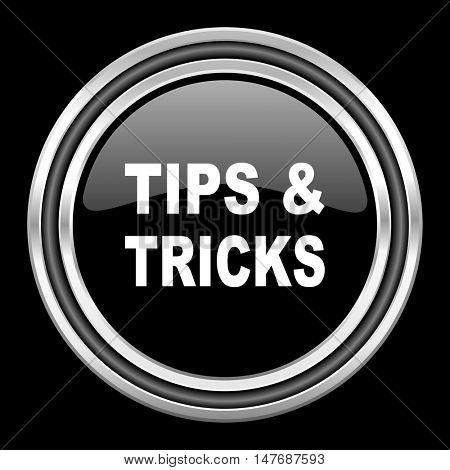 tips tricks silver chrome metallic round web icon on black background