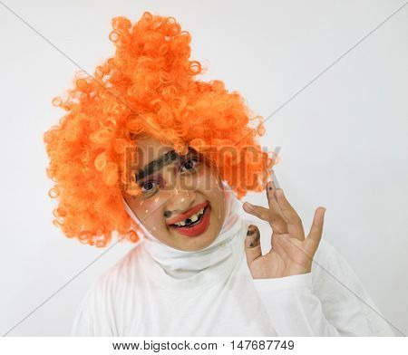 Girl with mask and wig