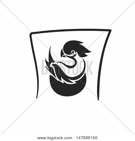 Vector bird in nest tatto symbol icon