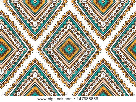 Vector seamless pattern with ethnic tribal ornamental rhombuses . Boho and hippie stylish background. American indian motifs.