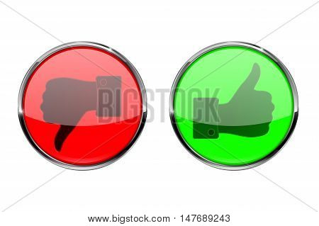 Thumb up thumb down buttons. Vector illustration isolated on white background