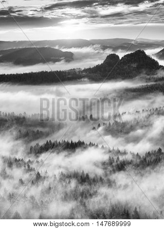 Black And White Mist, Daybreak In Beautiful Hills. Peaks Of Hills