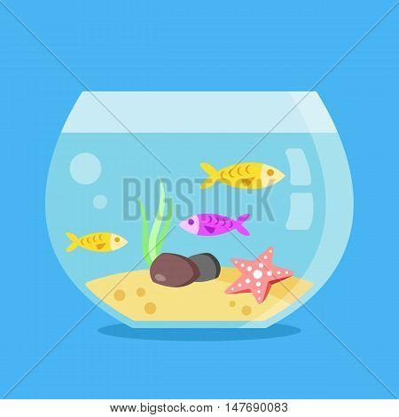 Aquarium with fish, seaweed, starfish, sand and stones. Minimal design round fish tank isolated on blue background. Flat vector illustration
