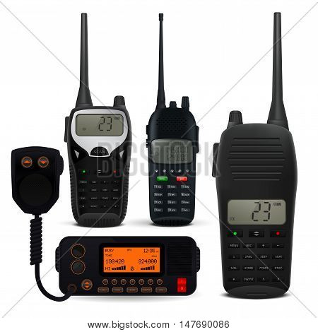 Radio transceivers. Set of police communication device. Realistic vector illustration isolated on white background