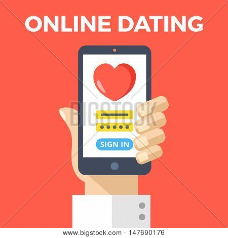 Online dating concept. Hand holding smartphone with online dating app login page. Modern graphic elements for web banners, web design, printed materials. Flat design vector illustration