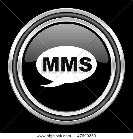 mms silver chrome metallic round web icon on black background