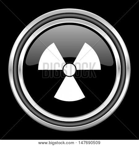 radiation silver chrome metallic round web icon on black background