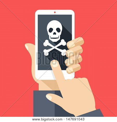 Hand holds smartphone with skull icon on screen. Broken phone, malicious software, virus attack, dead cellphone. Modern simple flat design with trendy long shadow. Creative vector illustration