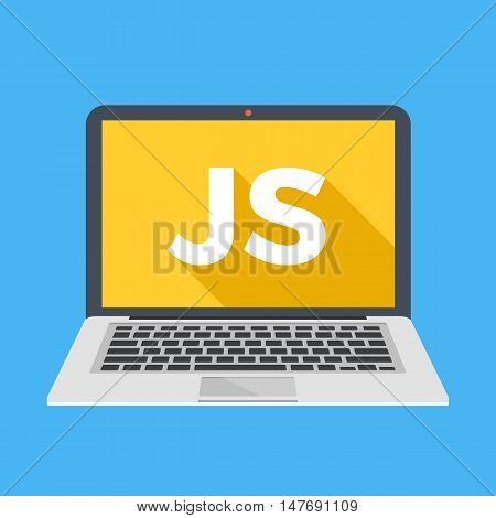 Laptop with JS word on screen. Learn Javascript, web development, coding, programming concepts. Trendy long shadow flat design. Colorful creative graphic elements. Vector illustration