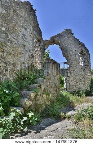 An historic derelict building in the southern city of Trebinje in Republika Srpska Bosnia and Herzegovina.