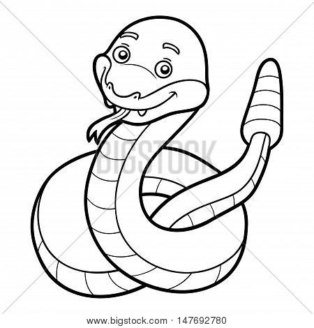 Coloring book for children, colorless animal, Rattlesnake
