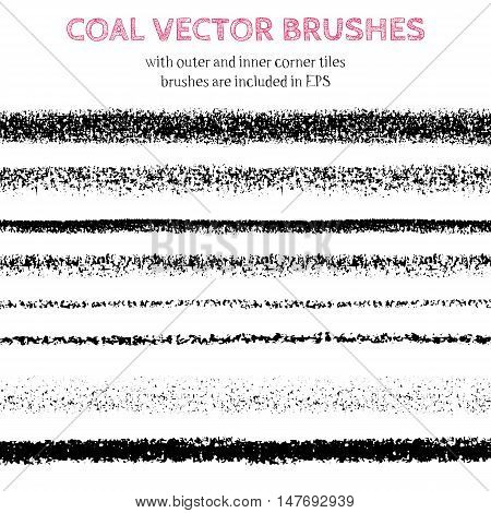 Hand drawn decorative vector brushes with inner and outer corner tiles. All used pattern brushes are included in brush palette. Hand drawn ink brushes dividers borders ornaments. Coal illustration.