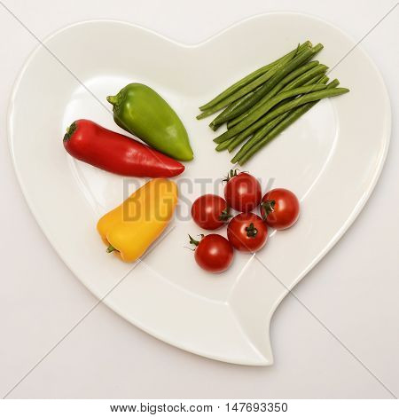 Heart Shaped Plate And Vegetables