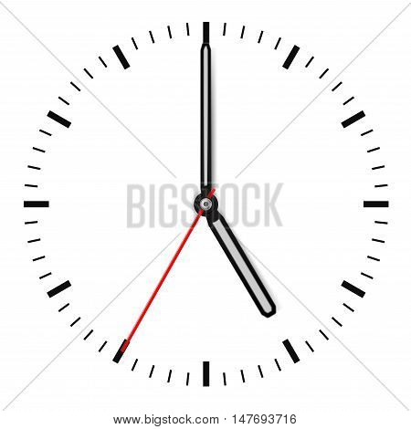 Clock dial. Vector illustration isolated on white background