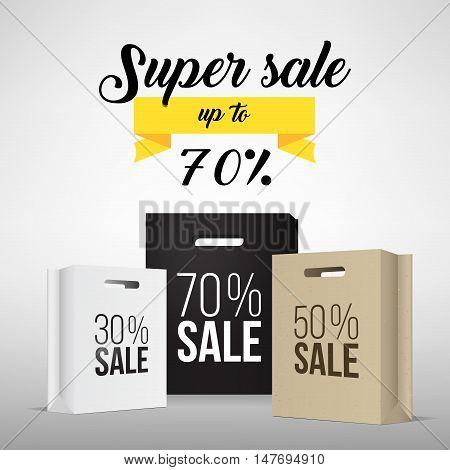 Paper shopping bag with sale promotion. Super sale banner. Special offer sale tag discount symbol