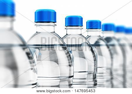 3D illustration of the row of plastic bottles with clear purified drink carbonated water isolated on white background with selective focus effect