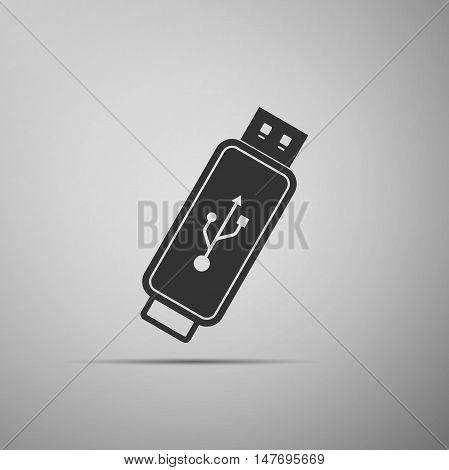 USB flash drive flat icon on grey background. Adobe illustrator