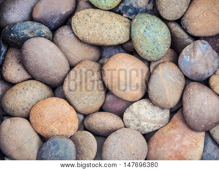 Colorful of peeble stones texture and background