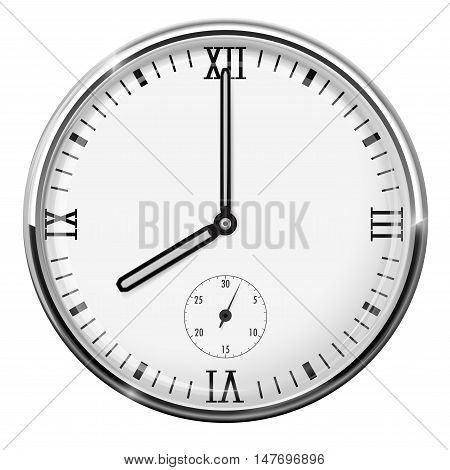 Round clock with chrome frame. Eight o'clock. Vector illustration isolated on white background